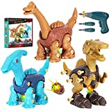 SPACEEXPLORER Take Apart Dinosaur Toys for Kids 3-5, Realistic Roaring Sound Dinosaur Toy for 3 4 5 6 7 8 Year Old Boy Girl, DIY Educational STEM Construction Toy w/ Electric Drill, Birthday Gift Idea