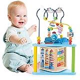 NA Juguete de Madera para Bebé Juguete Actividad Cubo de Madera Juguetes de Cubo para niños, Laberinto Educativo para niños pequeños, Centro de Actividades 4-in-1