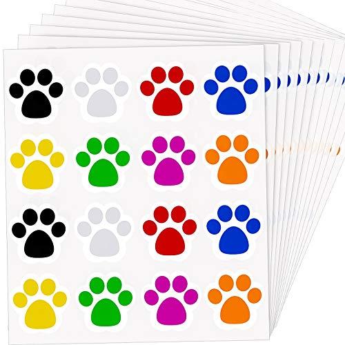 300 Stücke 1,5 Zoll Bunte Pfoten Aufkleber Hund Pfoten Etiketten Aufkleber Bär Pfoten Abdruck Aufkleber (Mischfarbe)