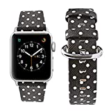 Wolait Leather Replacement for Apple Watch Band 42mm 44mm, iWatch Polka Dots Strap Compatible with Apple Watch Series 5 Series 4 Series 3 Series 2 Series 1 (Black, 42mm/44mm)