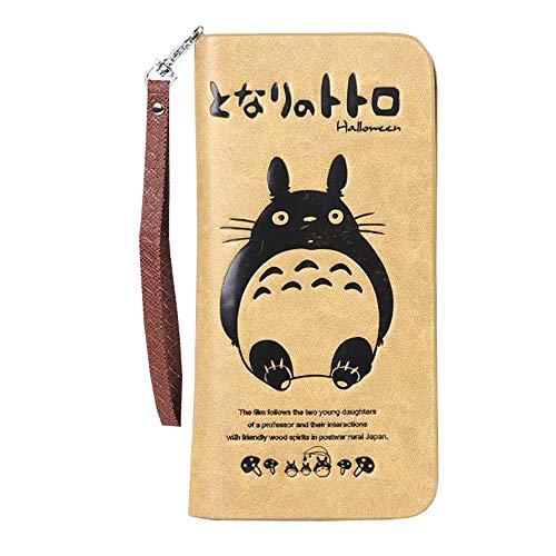 Wojhgegb Totoro PU-Leder-Mappen-stilvolle Geld-Klipp-Karikatur-Drucken-Geldbeutel (Color : Coffee, Size : 10.5 X 2.5 X 21cm)