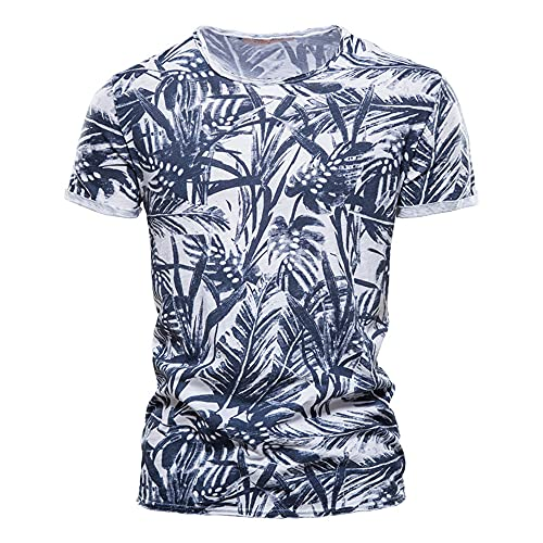 Camiseta Hombre Casual Transpirable con Estampado Mode Hombre De Manga Corta Verano Delgado Cuello Redondo Hombre Manga Corta Entrenamiento Deportivo Hombre Elástico D-White 2 S