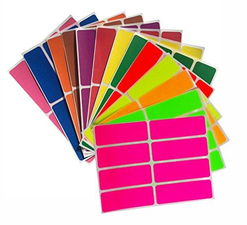 Sticker Bunt 76 mm x 25 mm rechteckige Aufkleber – in verschiedenen Farben Größe 7,5 cm x 2,5 cm viereckige Etiketten 104 Vorteilspack von Royal Green