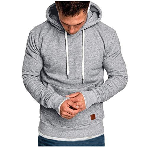 LSAltd Mode FüR MäNner Einfarbige Kapuzenpullover Mit Tasche Casual Langarm Komfortable Slim Fit Pullover TrainingsanzüGe