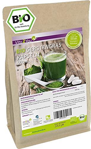 Bio Gerstengras Kapseln - 360 Kapseln - 500mg pro Kapsel - Gerstengras aus Bayern - Hochdosiert - Biologischer Anbau - Premium Qualität