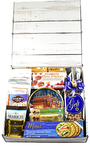 A Happy Hanukkah Care Package - Celebrate Hanukkah with Themed Snack Mix, Meat and Cheese, Cookies, Chocolates and So Much More...