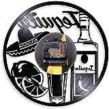 tjiaxu Disco de Vinilo Reloj de Pared Lámpara de Noche Colgante 7 Colores Bebida remota Silueta Vintage Colgante Hecho a...