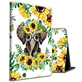 Fire HD 10 Tablet Case 10.1' (2019/2017/2015 Release) Elephant Sunflower Pattern Shockproof Slim PU Leather Cover with Auto Sleep/Wake for All-New Amazon Kindle Fire 10 (9th / 7th / 5th Generation)