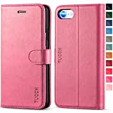 TUCCH for iPhone 8 Case, iPhone 7 Wallet Case, Magnetized Closure Card Slots Money Pouch, PU Leather Wallet Case Protective Cover Stand Feature Flip Book [TPU Shockproof Interior Protective Case], Pink 5s cases protective Oct, 2020