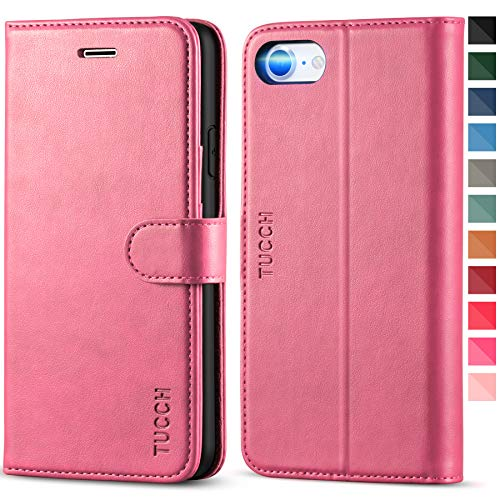 TUCCH Custodia iPhone SE 2020, Custodia iPhone 8, Cover iPhone 7 Portafoglio, Custodia Pelle Sintetica TPU Antiurto, [Supporto Stand] [Carta Fessura] e Protettiva Flip Cover per iPhone SE2/8/7 - Rosa