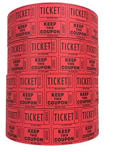 The Ticket Gurus-Raffle Tickets - (4 Rolls of 2000 Double Tickets) 8,000 Total 50/50 Raffle Tickets-(4) RED Rolls