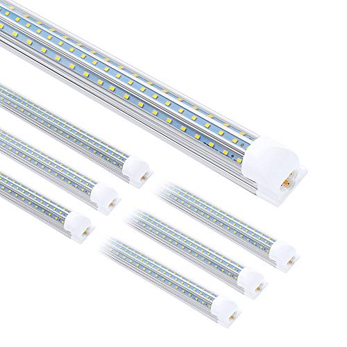 8FT LED Shop Light, 90W 10800LM Super Bright T8 Integrated LED Tube, 5000K Daylight, Clear Cover, D-Shaped Triple Rows Linkable Light Fixture with Plug for Garage, Workshop, Plug and Play (6-Pack)