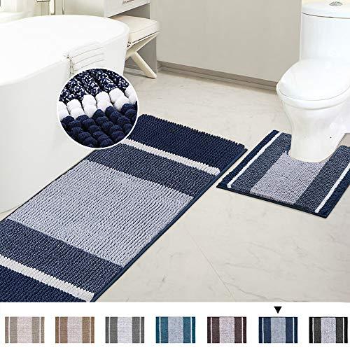 Bathroom Rugs Luxury Chenille Mat Set Soft Plush Shower Rug + Toilet Mat, Microfiber Striped Shaggy Carpet Bath Mats for Bathroom Machine Washable(Curved Set, 47' x 17'/20' x 20', Navy)