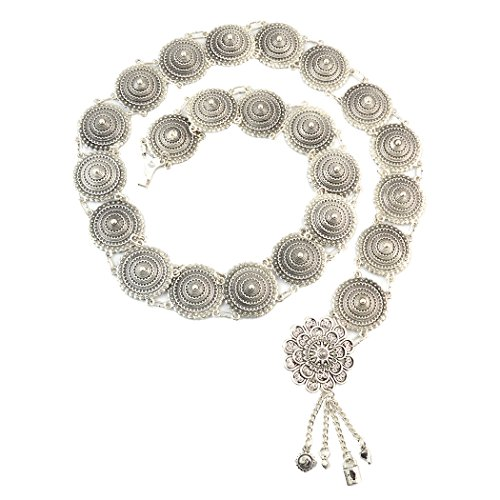 Idealway - Catena in stile vintage, in argento, con nappe in metallo