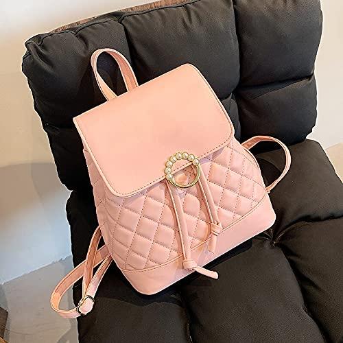 JSJJAUJ Zaino Moda Donna Zaino Borsa in Pelle Donne Donne Zaino Designer per Adolescente Girl di Alta qualità Libri di Viaggio Zaino (Color : Pink, Size : 23cmx26cmx11cm)