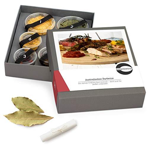 """Gewürze Geschenkset """"Australisches Barbecue"""" - Gewürzbox zum selbst Zubereiten als Geschenk - inkl. BBQ Rezept - mit exotischen und BIO Gewürzen"""