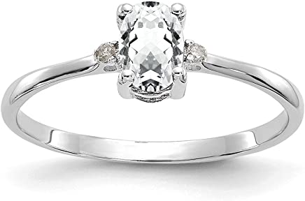 14k White Gold Diamond Topaz Birthstone Band Ring Size 6.00 Stone April Oval Fine Jewelry Gifts For Women For Her