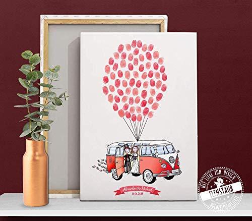 VW Bulli Bus als Wedding-Tree Leinwand zur Hochzeit für Fingerabdruck als Gästebuch-Idee Geschenk