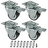 HRB Rollen mit Bremse 50 mm (4er Set Lenkrollen mit Bremse) rasengeeignete Strandkorbrollen mit Bremse Tragkraft 400 kg nutzbar als Rollen für Möbel, Palettenmöbel oder als Transportrolle, inkl. Schrauben und Bit