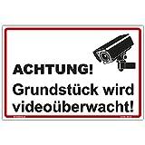 Schild'Grundstück wird videoüberwacht' Hinweisschild 300x200 mm stabile Aluminiumverbundplatte 3mm stark