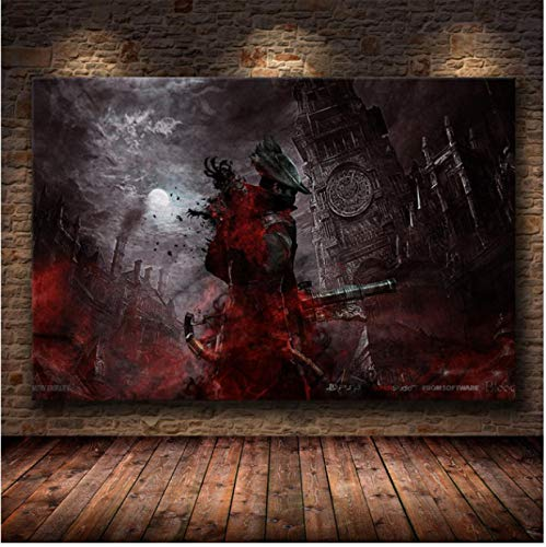WDQFANGYI Classic HD game Poster Bloodborne Canvas painting Posters and prints Living room bedroom home decoration 50X70CM (FLL4902)