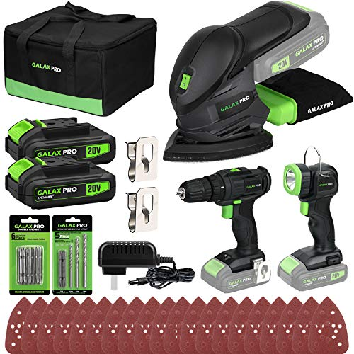 GALAX PRO Cordless DIY Power Tool Kit Cordless Mouse Sander 12000OPM 2Speed Drill Driver 20V Cordless Torch 110Lm Battery LiIon 13Ah with Charger
