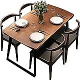 Mesa de Comedor, Mesa de Comedor de Madera Maciza y combinación de Silla Juego de 5 Piezas Grosor de la Mesa 5 cm Muebles de Cocina marrón,120x60x75cm