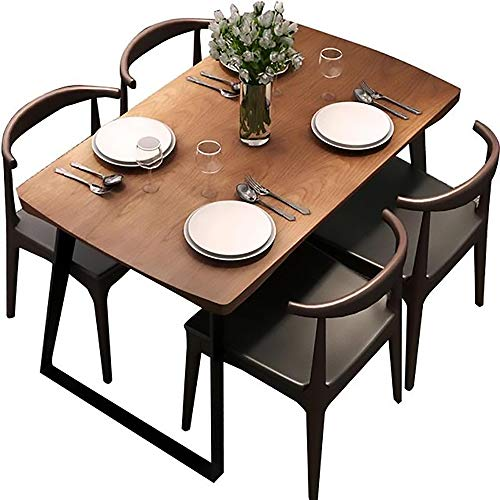 Tavolo da Pranzo, Tavolo da Pranzo in Legno massello e Combinazione di sedie Set di 5 Pezzi Piano...