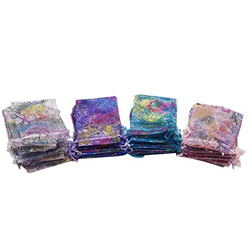 100pcs Organza Drawstring Bags 10x15 cm, 4 Colors Coral Pattern Organza Gift Pouches for Jewelry Earrings Christmas Candy Party Favors