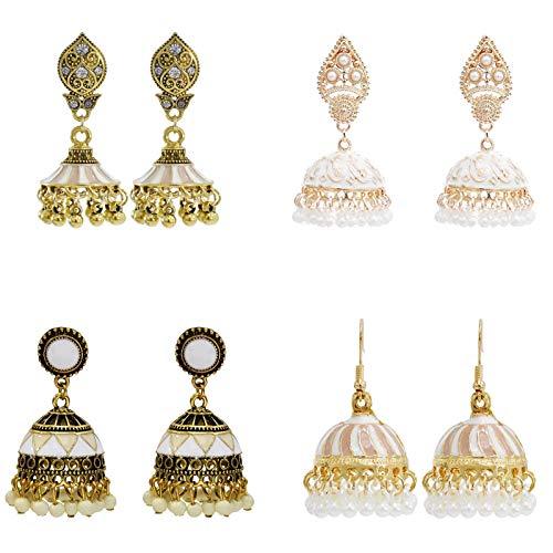Gypsy Indian Bell Dangle Earrings Set - Retro 4pair/set Round Bell Tassel Hollow Jhumka Earrings for Women (White)
