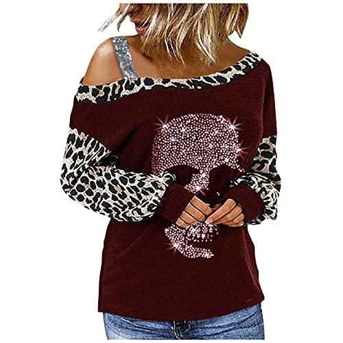 YESMAN Camisa de manga larga para mujer con estampado de calavera de lentejuelas, para Halloween, elegante, con hombros descubiertos, manga larga, suelta, blusa de leopardo y patchwork, Vino, XL