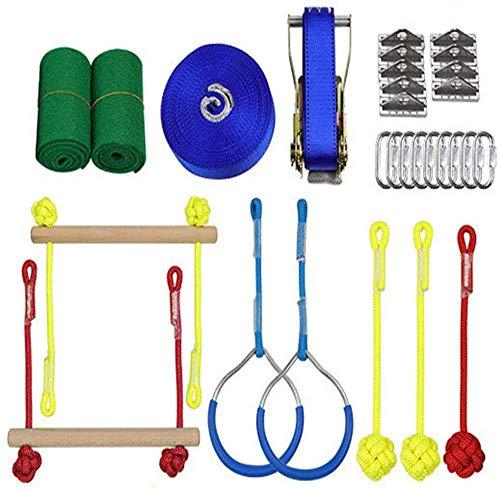 SXXJ Hindernisparcours für Kinder Jungle Gym Klettergerüst Kit Ninja Warrior Junior Exerciser Kids Fun Slackline Outdoor Kinder Sportausrüstung