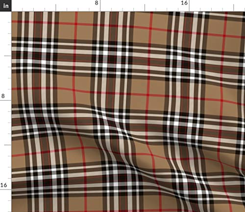 Spoonflower Fabric - Tartan Plaid Scottish Tan Brown Black White Printed on Petal Signature Cotton Fabric by The Yard - Sewing Quilting Apparel Crafts Decor