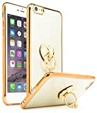 iPhone 6 Plus Case, Bastex Slim Fit Clear Plastic TPU Gold Bumper Case Cover with Attachable Heart Diamond Ring Holder Kickstand for Apple iPhone 6 Plus iPhone 6s Plus