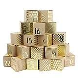 Calendario de Adviento para rellenar – 24 cajas doradas para manualidades – Diseño dorado – 24 cajas de cartón marrón natural de 400 g/m² para colocar y decorar – 24 cajas – Esperar Navidad