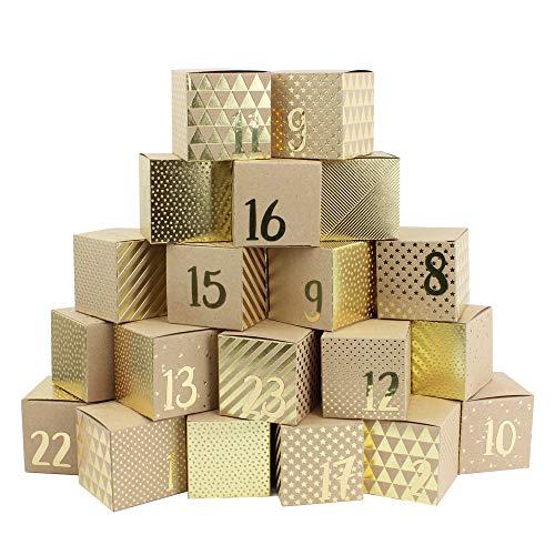Papierdrachen Premium Adventskalender zum Befüllen - 24 goldfolierte Kisten mit 24 goldenen Zahlen zum Basteln 24 naturbraune Schachteln aus 400g/m²-Karton zum Aufstellen und Dekorieren