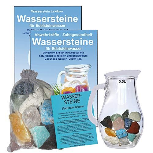 EDELSTEIN WASSER MINERALIEN & SPURENELEMENTE 5-tlg SET. 300g WASSERSTEINE zur Wasseraufbereitung für Trinkwasser + 0,5 L Glaskrug Karaffe + Anleitung + Zubehör. 90044-1