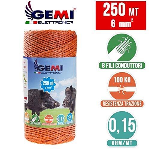Gemi Elettronica Weidezaunlitze für den Weidezaun 250 Mt 6 mm² - Litze Weidezaunseil Elektrozaun für Schafe, Rinder, Schweine Wildschweine und Rehe