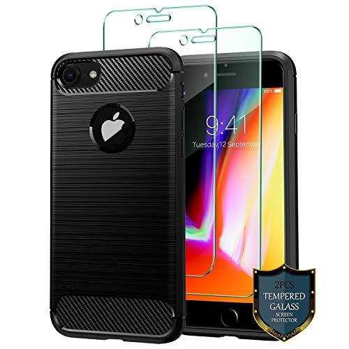 J Jecent Coque iPhone 7 Coque iPhone 8 [2×Verre trempé] Bumper en Silicone [Texture Fibre de Carbone] Souple TPU Flexible Légère Case Cover...