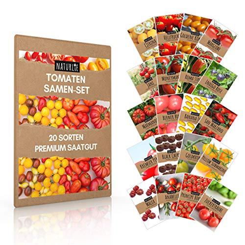 20er Tomaten Samen Set - 20 Sorten Tomatensamen für Balkon und Garten - Tomaten Anzuchtset - bunte und alte Tomatensorten von Naturlie - Garten Samen Gemüse als praktisches Tomatenset