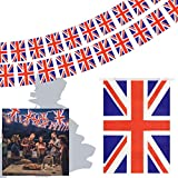 Union Jack Bunting Flags, 5.5M 18ft British Banner Fabric Flags with Square 20 Flags, Party Decor Britain Union Jack Flag Patriotic Themed Bunting Decoration, Proud to be British (United Kingdom)