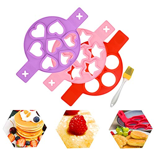 7 Cavity Pancake Molds Ring Fried Egg Mold Reusable Silicone Non-Stick Pancake Maker Egg Ring 3 Pack and Silicone Brush (Heart Round Star)