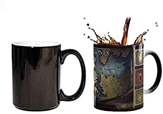 GulfDealz Game Of Thrones Tea & Coffee Cup The Theme Map Color Changing Cup By Heat, Ceramic - Black