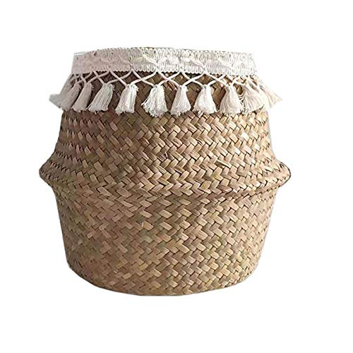 URFEDA Körbe Aufbewahrung,Wäschekorb übertopf KLorb Geflochten Faltbar Blumentopf Handgewebt Pflanzkorb Spielzeug Lagerung Für Pflanze Wäsche Lagerung Veranstalter Strandtasche
