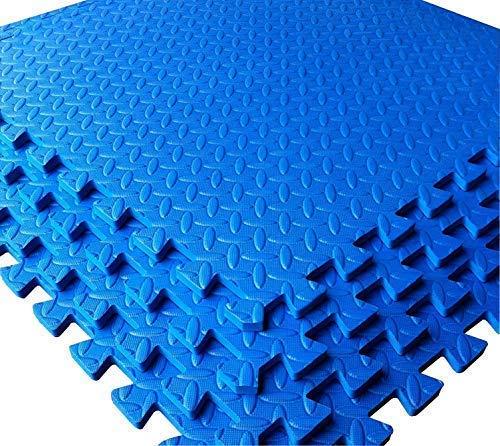 Blau–Garage/Werkstatt/Showroom Bodenbelag EVA-Schaum Matte Tile Interlocking–4Stück 16sq FT