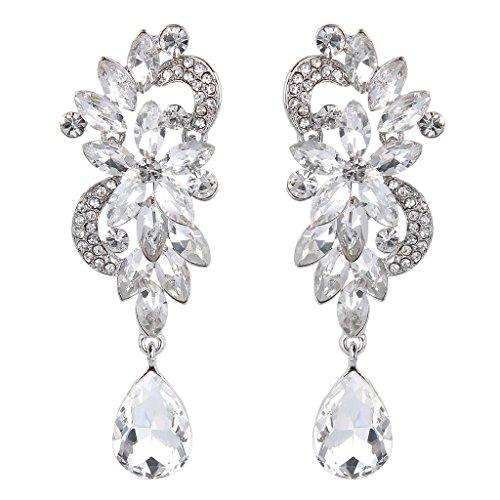 Pendientes de Mujer - Clearine Aretes en Forma de Floral Lágrimas, Estilo Elegante Precioso Cristales para Boda Novia Fiesta Plateado