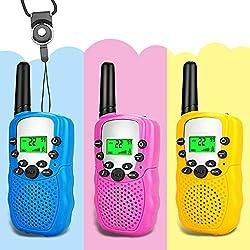 Moglor Walkie Talkie Kinder 3 Set, Funkgerät 3KM Reichweite 22 Kanäle Walkie Talkie mit Taschenlampe und 3 Schlüsselbänder, idea für Freien, Camping, Wandern