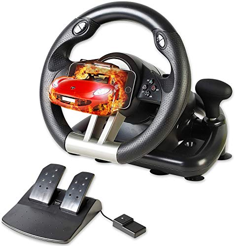 Serafim R1+ Racing Wheel for PS4, Xbox One,PC, Switch, PS3, iOS, Android - Vibration Xbox One Steering Wheel, PS4 Steering Wheel, PC Gaming Wheel - Gaming Steering Wheel with Responsive Pedal
