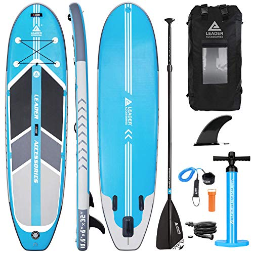 Leader Accessories Inflatable Stand Up Paddle Board, inflatable SUP Board,inflatable Paddle Board,Pump and Backpack, Adjustable Paddle (Light Blue)