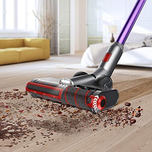 JASHEN V16 Cordless Stick Vacuum Cleaner, Cordless Stick Vacuum with LED Panel, Stick Vacuum Cleaner for Hardwood Floors,Carpet/Rug,Pet Hair,Purple